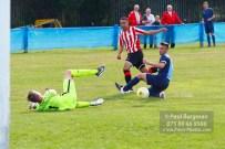 24/09/2016. Spelthorne Sports v Guildford City. Guildford City Dan HARDING's shot saved by keeper