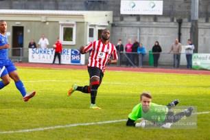 22/10/2016. Guildford City v North Greenford United. City's Ibby AKANBI scores