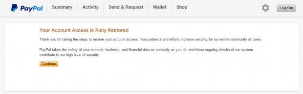 tài khoản paypal khi đã được phục hồi gỡ limit