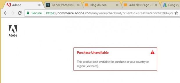 mua phần mềm photoshop bản quyền không được việt nam