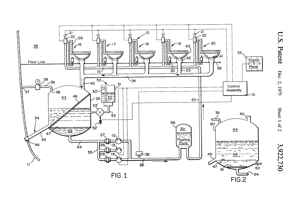 medium resolution of us patent 3 922 730 a diagram of recirculating toilet system for use in aircraft or like