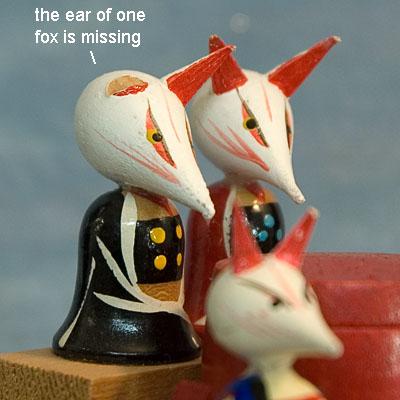 Kokeshi Japanese Wooden Doll Shinto Inari Fox Figurines Japan Tokaido Softypapa JinjaKitsune