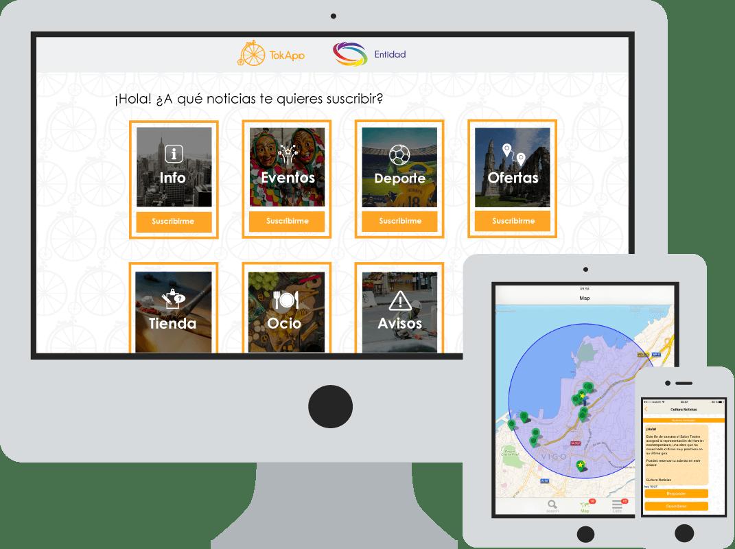 Visualización de las suscripciones TokApp en distintos dispositivos