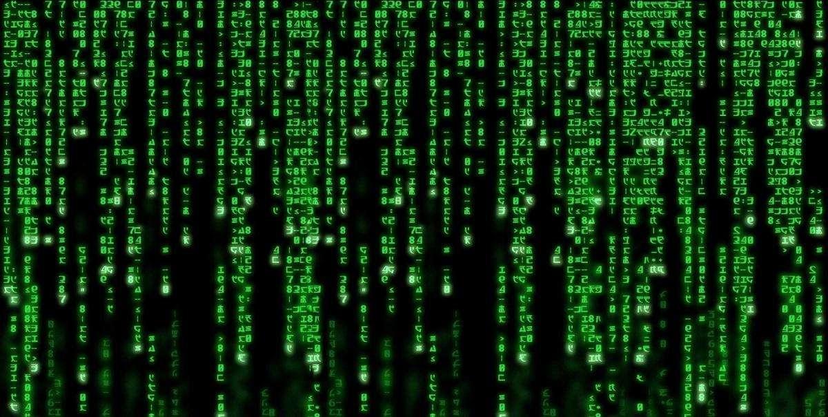 Перший кадр фільму Вачовскі Матриця. Зелена математична матриця на чорному тлі