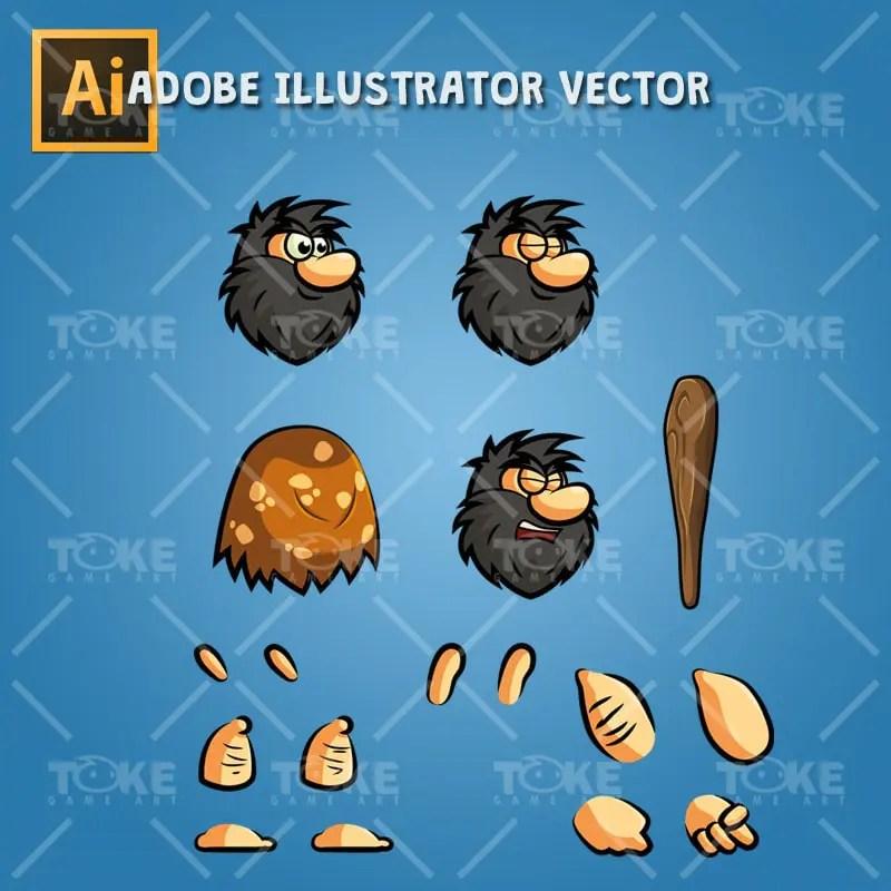 Bob The Caveman - Adobe Illustrator Vector Art Based