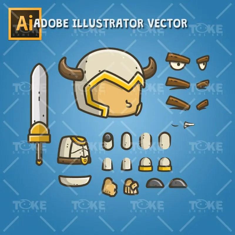 Chibi Knight The White Bull - Adobe Illustrator Vector Art Based