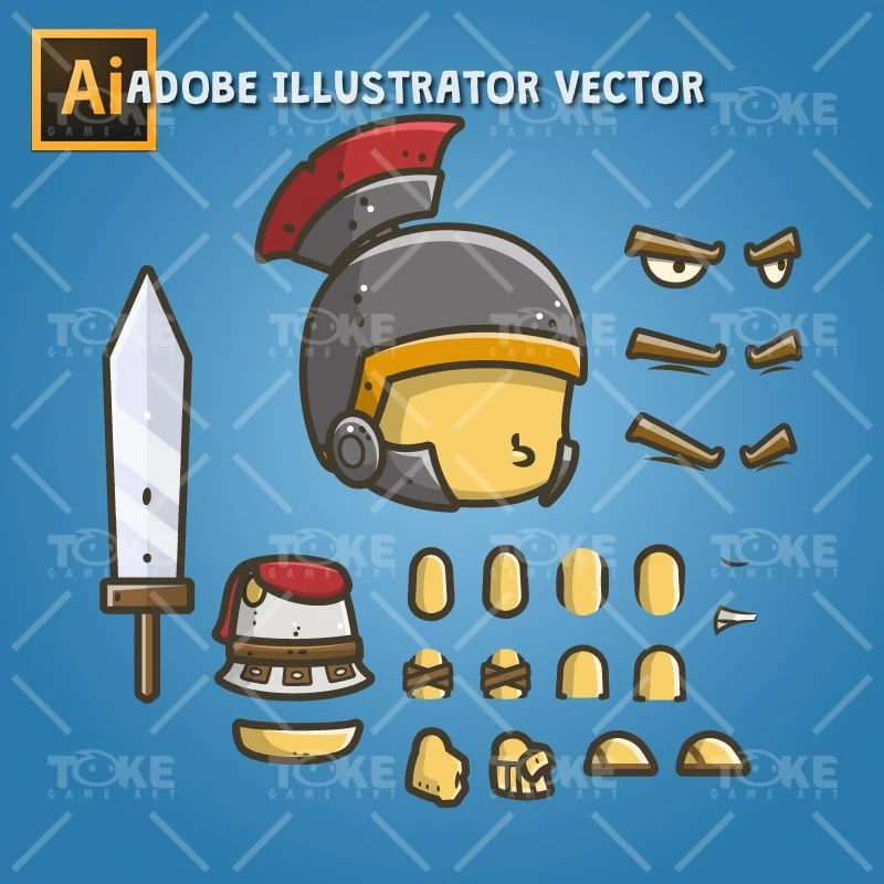 Chibi Roman Knight - Adobe Illustrator Vector Art Based