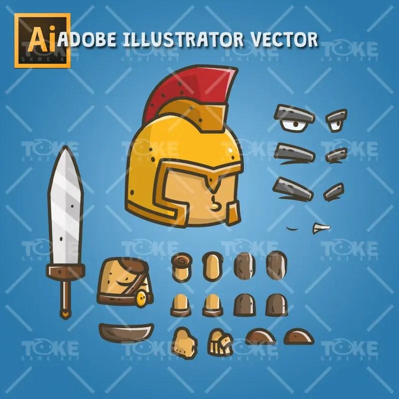 Chibi Knight Golden Helmet - Adobe Illustrator Vector Art Based