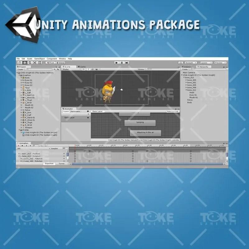 Chibi Knight Golden Helmet - Unity Animation Ready