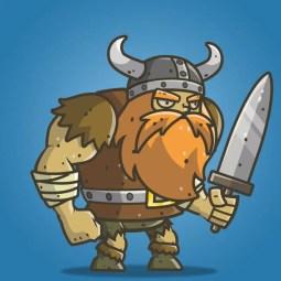 Chibi Muscular Viking - 2D Character Sprite