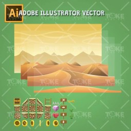 Egyptian Tileset - Adobe Illustrator Vector Art Based