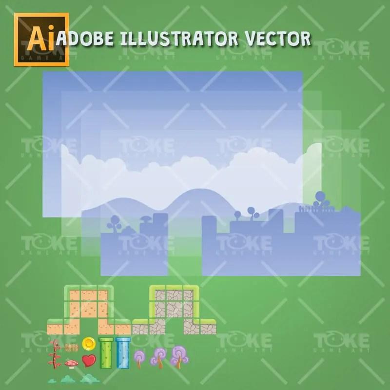 Fantasy Tileset - Adobe Illustrator Vector Art Based