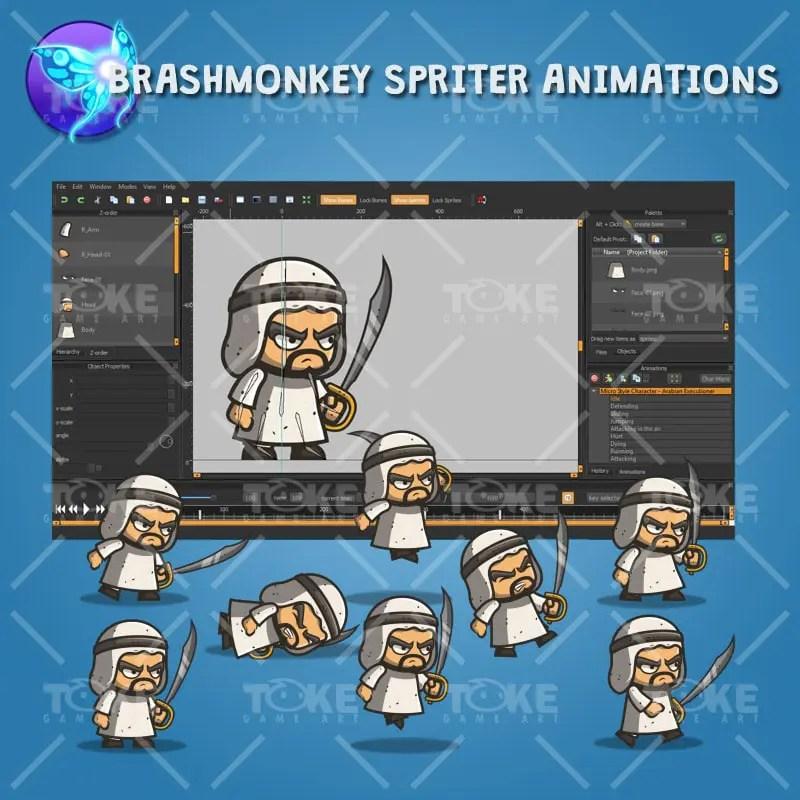 Micro Style Character Arabian Executioner - Brashmonkey Spriter Animation
