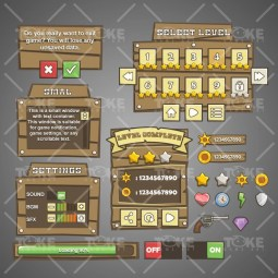 Western GUI - Game GUI - Adobe Illustrator Vector Art Based