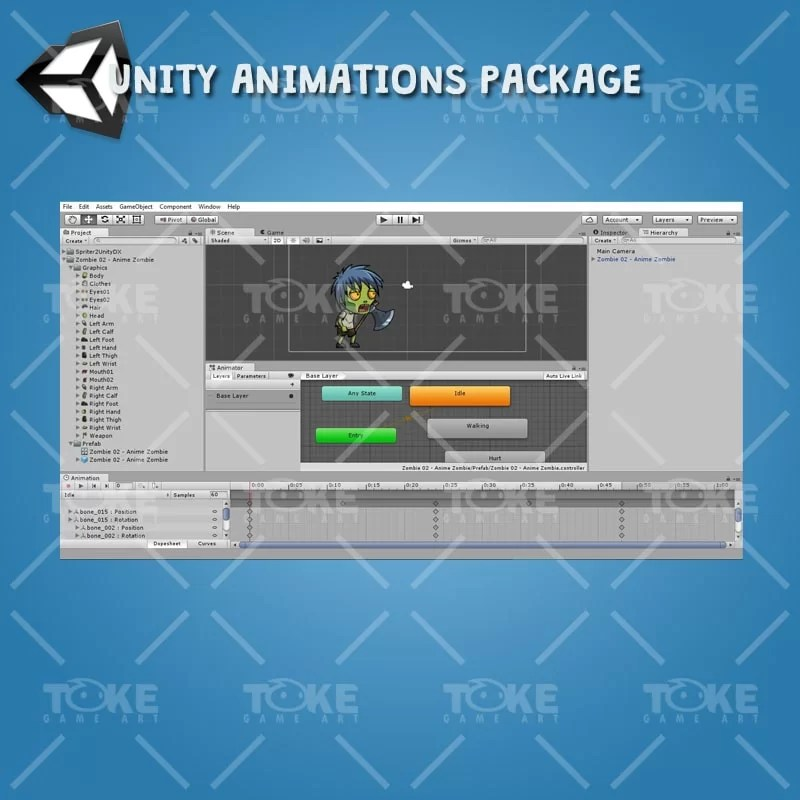 Anime Zombie - Unity Animation Ready