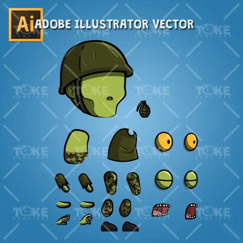 G.I. Joe Zombie - Adobe Illustrator Vector Art Based