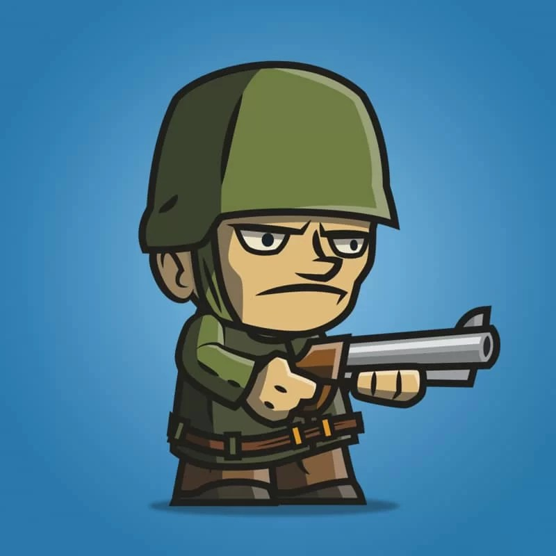 Tiny Army Sam - 2D Character Sprite