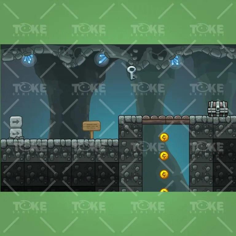 Cartoon Cave Platformer Tileset - Preview 1