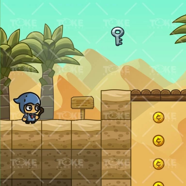 Cartoon Desesrt Tileset - 2D Game Platformer Tileset - Game Preview 01