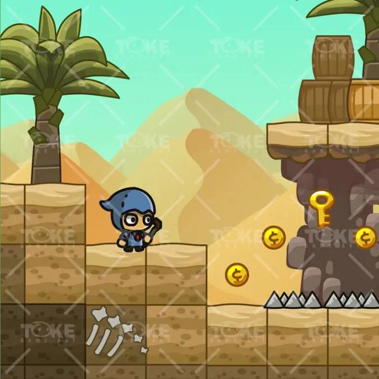 Cartoon Desesrt Tileset - 2D Game Platformer Tileset - Game Preview 03