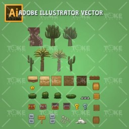 Cartoon Desesrt Tileset - Adobe Illustrator Vector Art Based - Game Environment