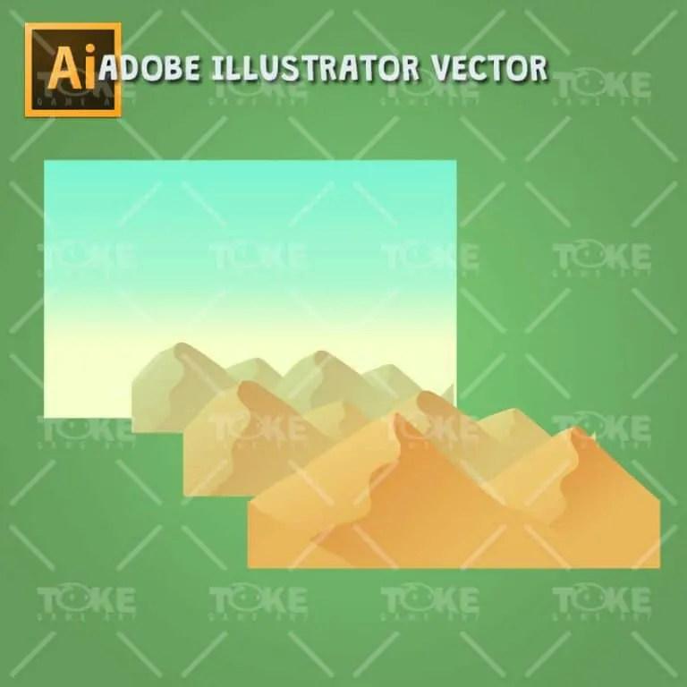 Cartoon Desesrt Tileset - Adobe Illustrator Vector Art Based - Parallax Game Background