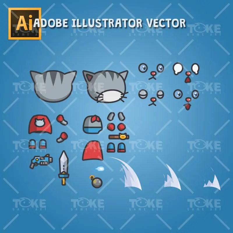 Super Cat - Adobe Illustrator Vector Art Based