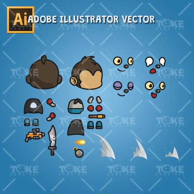 Super Monkey - Adobe Illustrator Vector Art Based
