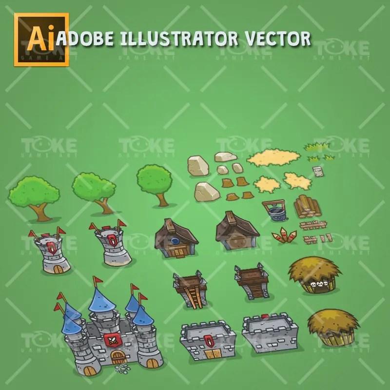 Top-down Forest Tileset - Buildings & Environment - Adobe Illustrator Vector Art Based