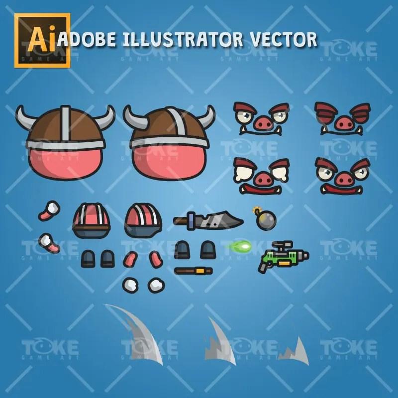 Bad Piggy - Adobe Illustrator Vector Art Based