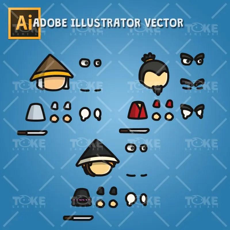 Samurai Tiny Character Style - Adobe Illustrator Vector Art Based