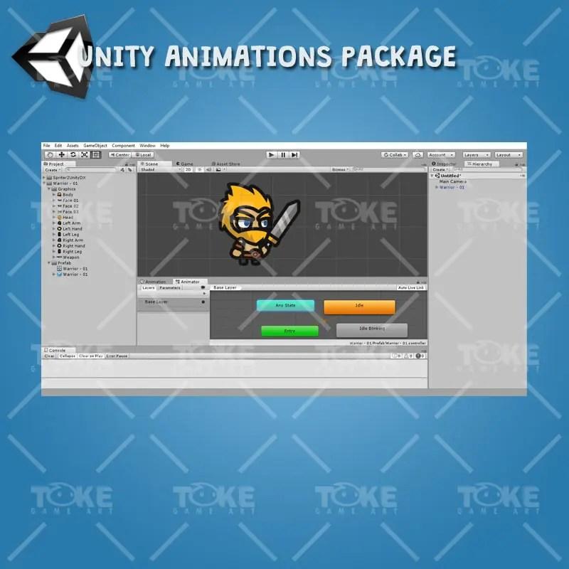 Warrior Tiny Style Character - Unity Animation Ready