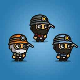 Gold Miner Tiny Style Character - 2D Digger Character Sprite