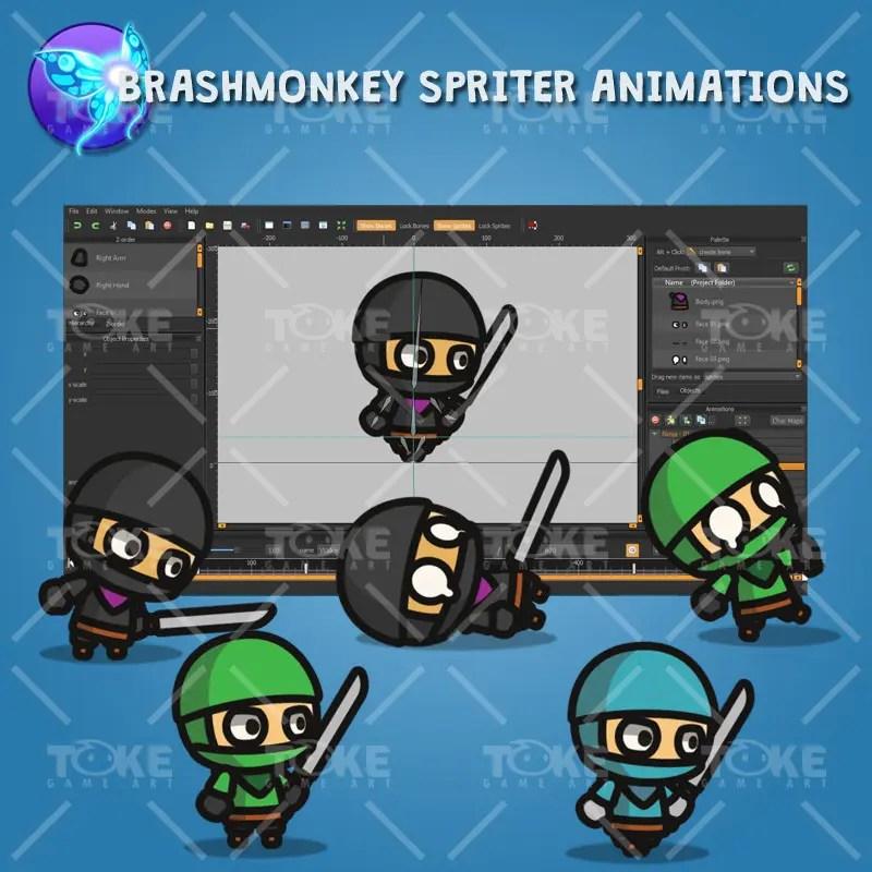 Ninja Tiny Style Character - Brashmonkey Spriter Animation