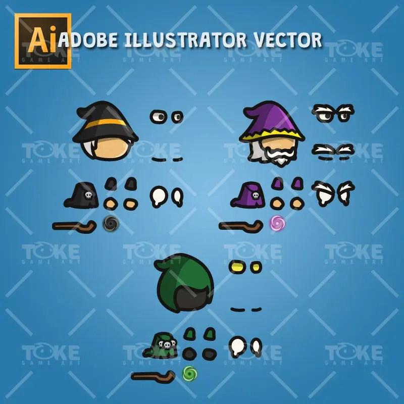 Wizard Tiny Style Character - Adobe Illustrator Vector Art Based