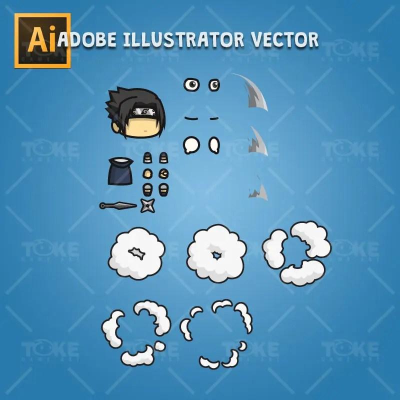 Shinobi 02 - (Uchiha Sasuke) - Adobe Illustrator Vector Art Based