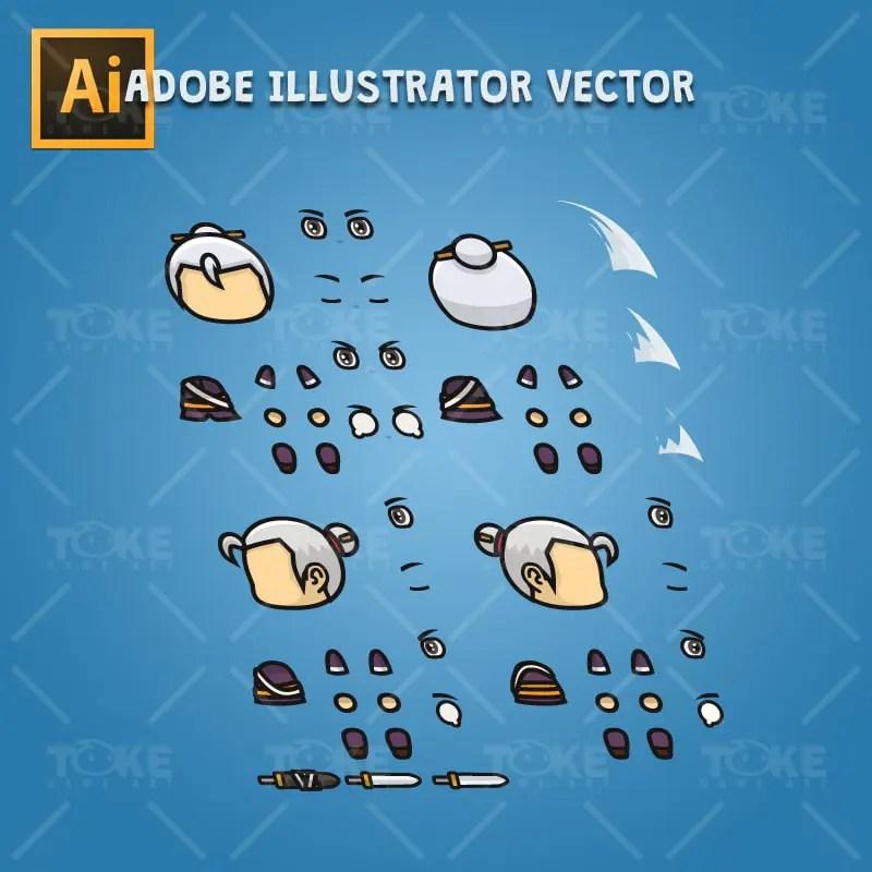 Swordmaster - 4 Directional 2D Character Sprite - Adobe Illustrator Vector Art Based