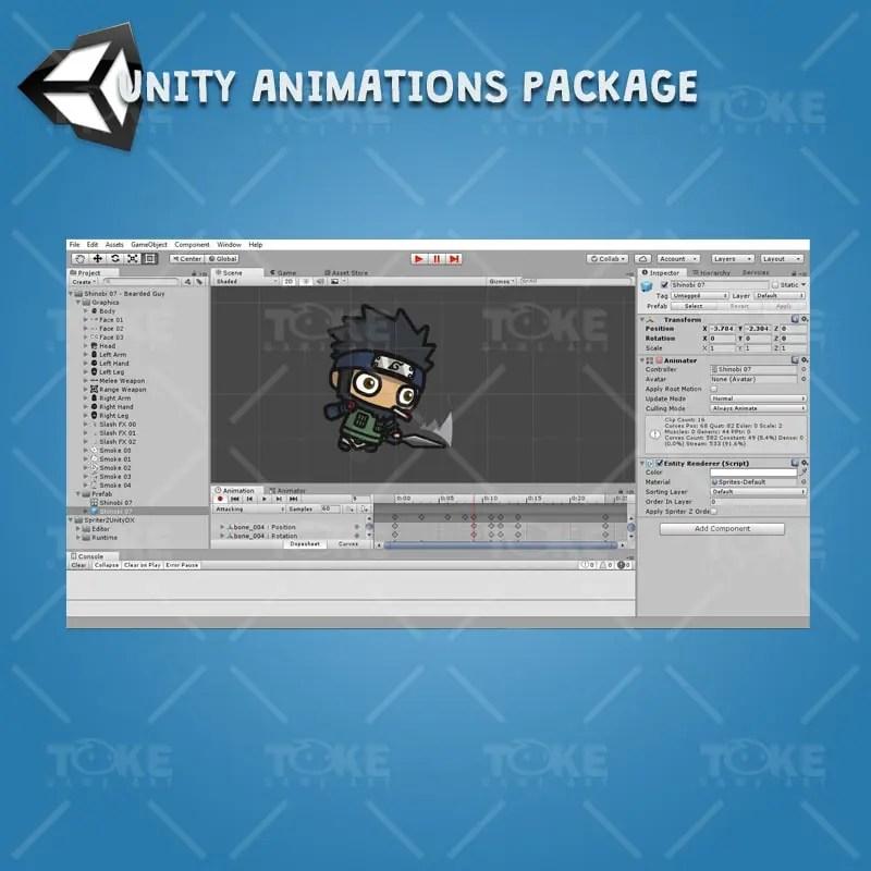 Bearded Shinobi Guy - Unity Animation Ready