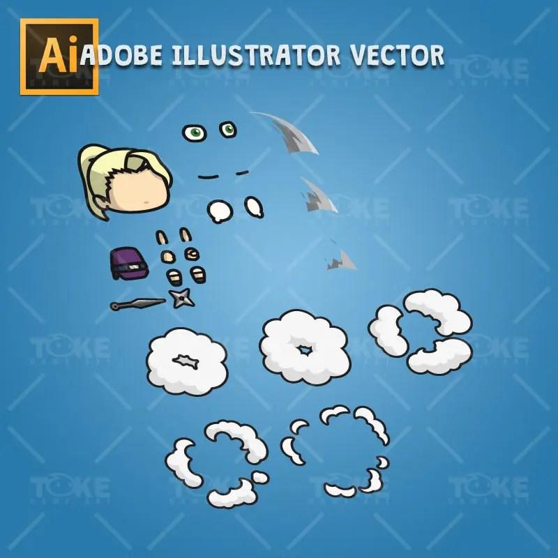 Blonde Shinobi Girl - Adobe Illustrator Vector Art Based
