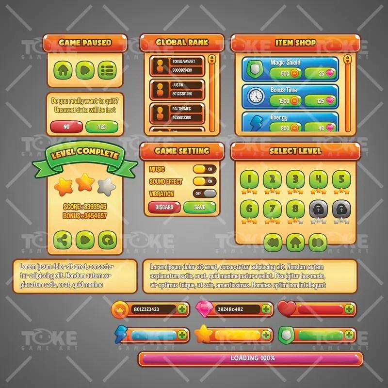 Casual Game GUI - Adobe Illustrator Vector Art Based