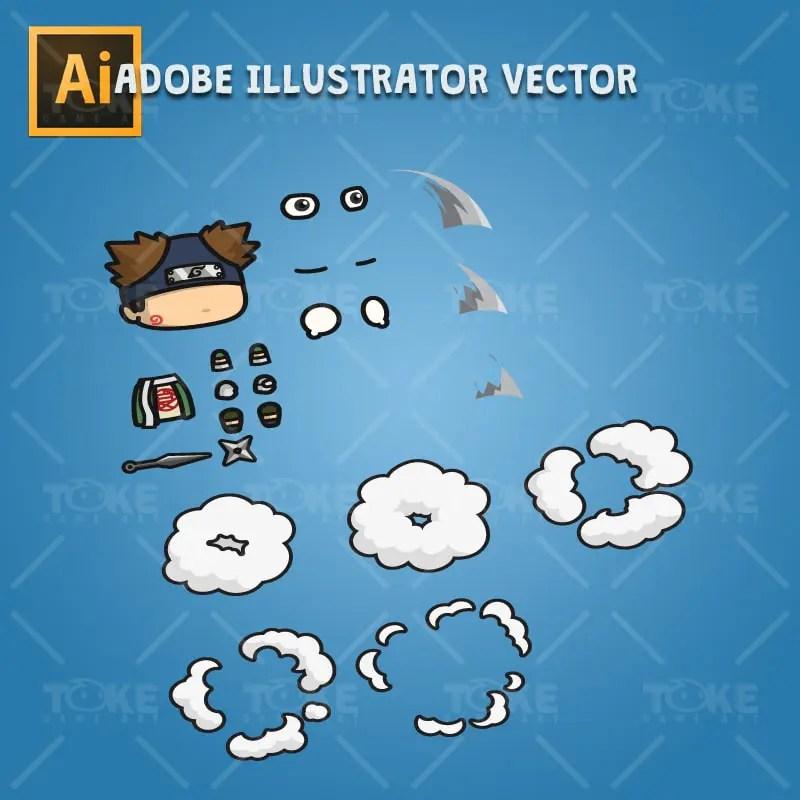 Fat Shinobi Guy - Adobe Illustrator Vector Art Based