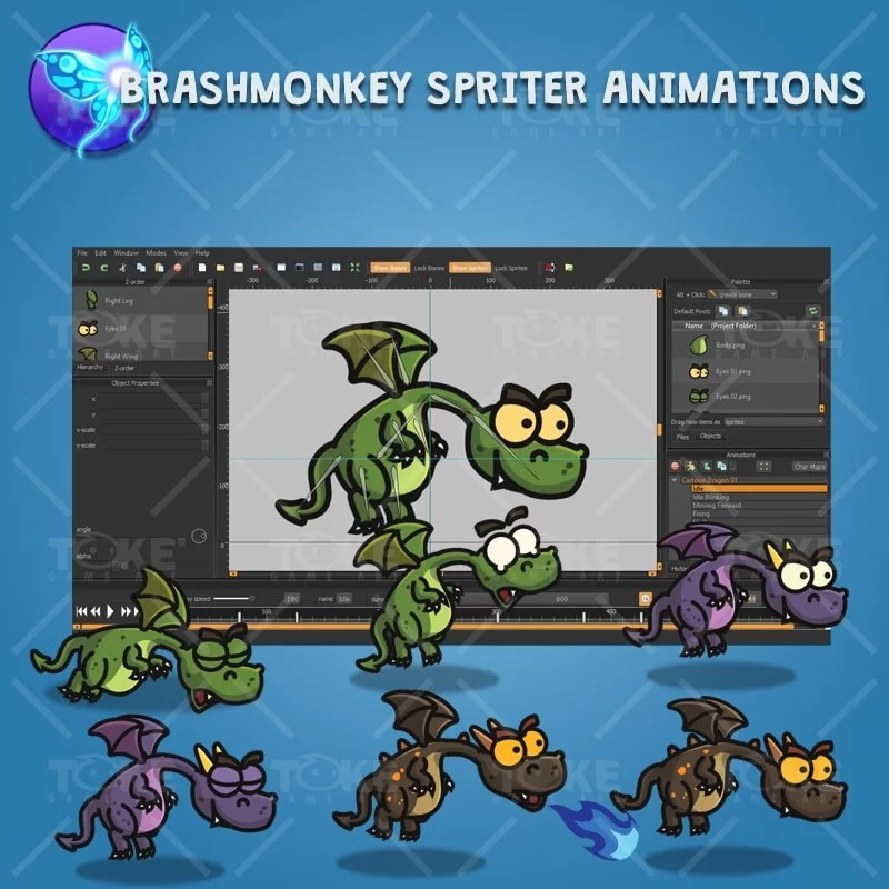 Cartoon Dragon - Brashmonkey Spriter Animation
