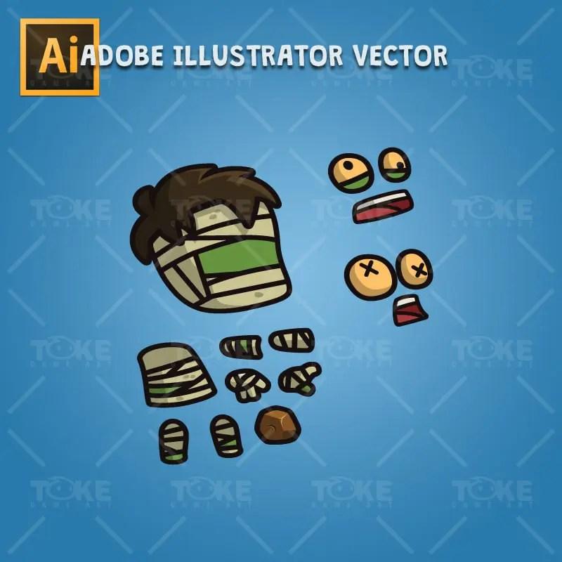 Cartoon Hairy Mummy - Adobe Illustrator Vector Art Based