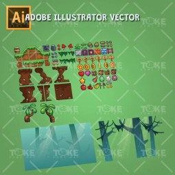 Cartoon Jungle Game Tileset - Adobe Illustrator Vector Art Based