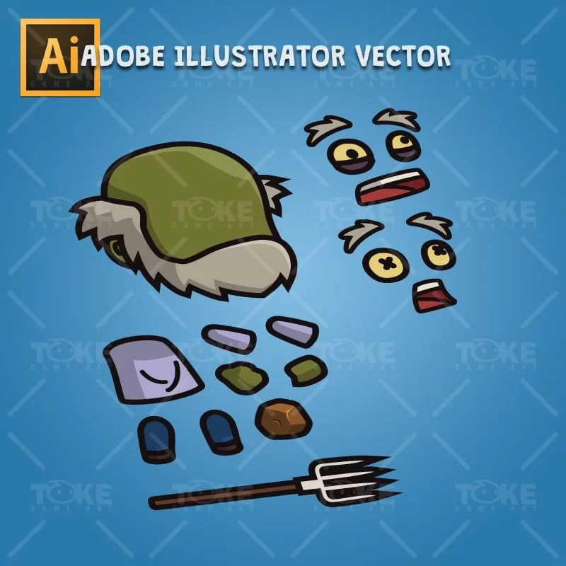 Cartoon Old Farmer Zombie - Adobe Illustrator Vector Art Based