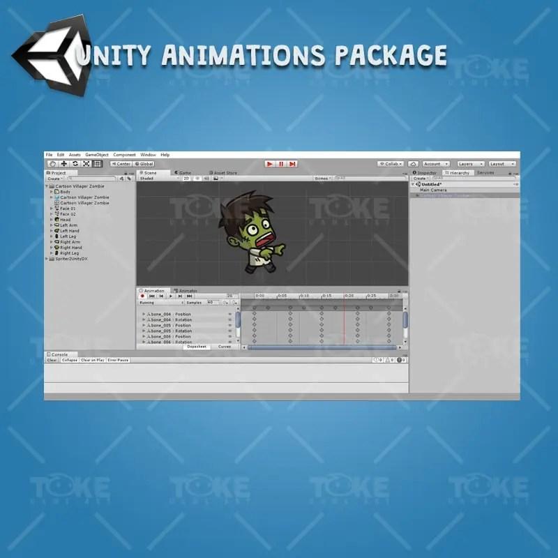 Cartoon Villager Zombie - Unity Animation Ready