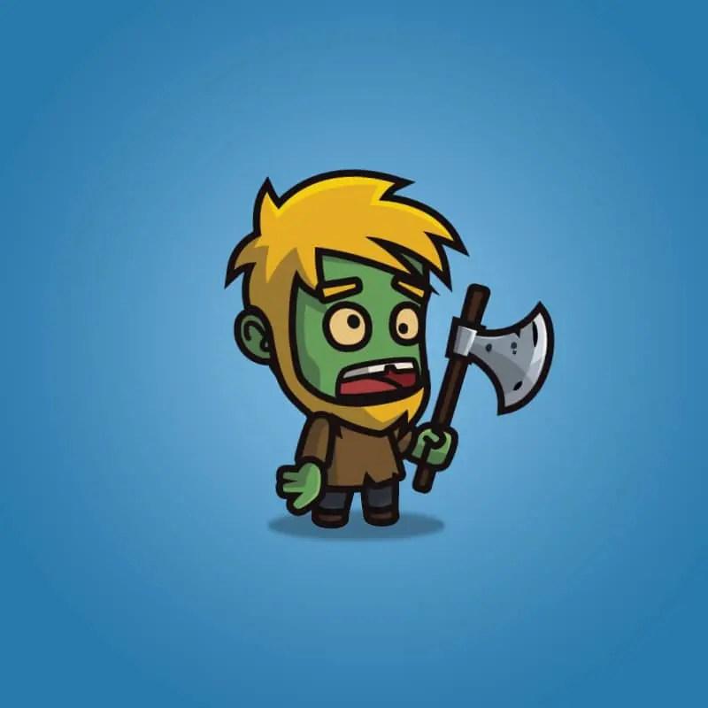 Cartoon Woodcutter Zombie