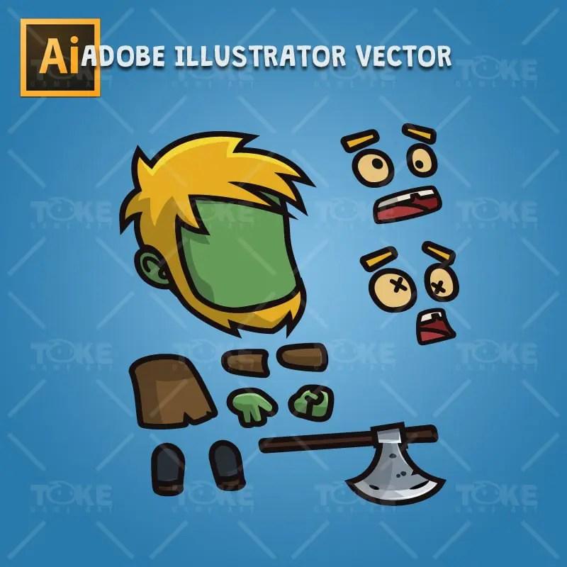 Cartoon Woodcutter Zombie - Adobe Illustrator Vector Art Based