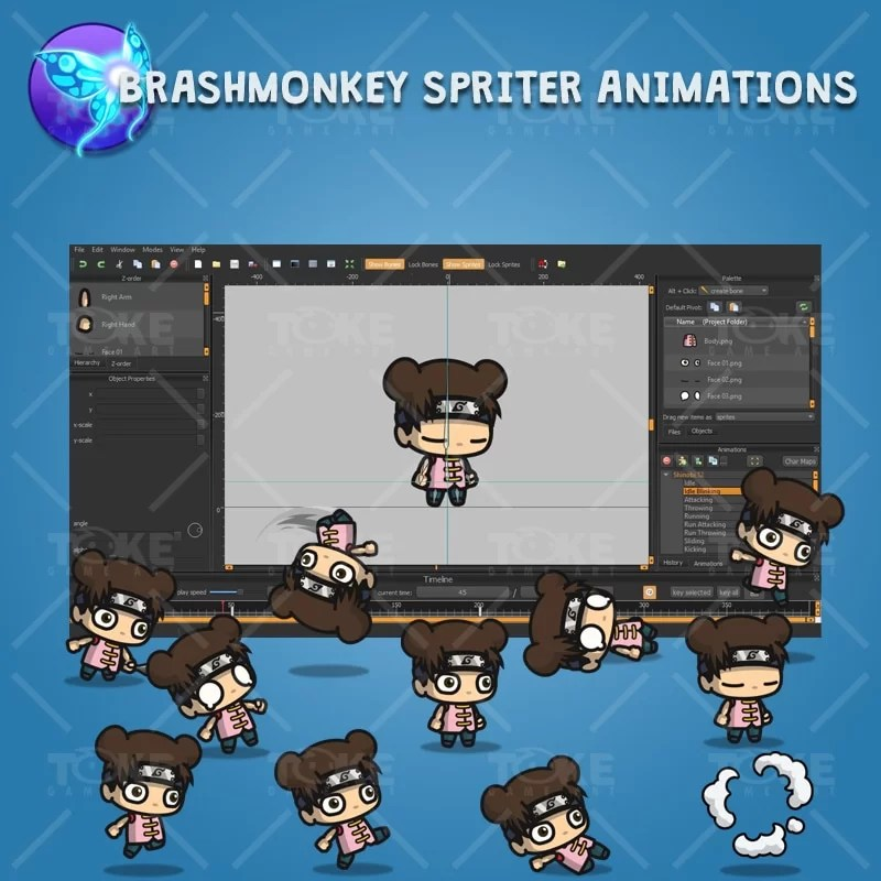 Cute Shinobi Girl - Brashmonkey Spriter Character Animation