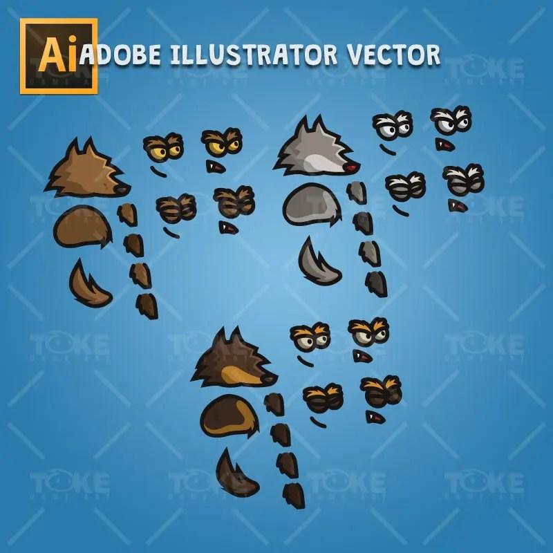 Tiny Wolves - Adobe Illustrator Vector Art Based